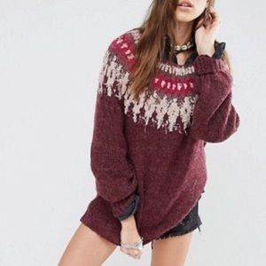 Free People Baltic Fairisle berry pullover sweater